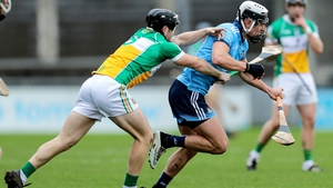 Dublin's Cian Boland is tackled by Craig Taylor of Offaly