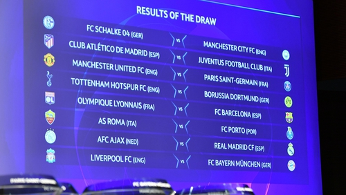 The round of 16 draw for the 2018/19 CHampions League