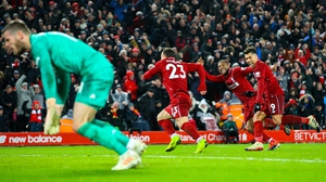 Xherdan Shaqiri celebrates scoring against Manchester United