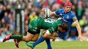 Tom Farrell tackles Leinster flanker Josh van der Flier during Connacht's 20-3 home defeat in September