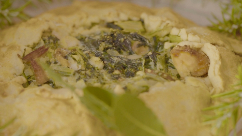 Rustic turkey or chicken pie with Swiss chard and tarragon.