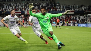 Hoalkeeper Khalid Eisa of AI Ain FC celebrates his match-winning penalty save