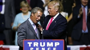 Donald Trump and Nigel Farage at a 2016 US presidential election rally. Photo: Jonathan Bachman/Getty Images