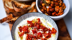 Sun blushed tomato whipped feta wit garlic sourdough toasts, veggie crudités & rosemary nuts