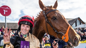 Rachael Blackmore after winning the Ballymore Handicap Hurdle on Meri Devie in April