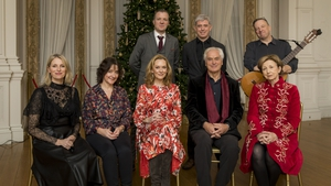 The Christmas Poetry Programme: Back Row (L to R): Billy Ramsell, Andrew Bennett, Robbie Overson, Front Row (L to R): Eimear Quinn, Colette Bryce, Cathy Belton, Ian Robertson and host Olivia O'Leary