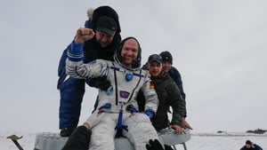A delighted Alexander Gerst after his arrival back to Earth