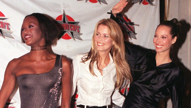 Campbell with two of the other supers, Claudia Schiffer (middle) and Christy Turlington (Sean DempseyPA)