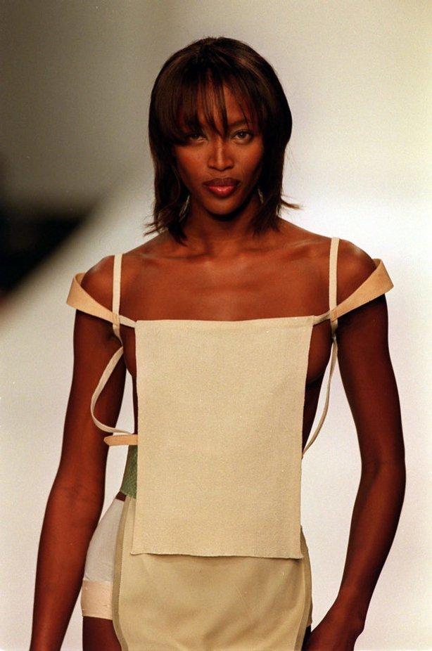 An outfit from Robert Cary-Williams, is modelled by Naomi Campbell, at the launch of his Spring/Summer 2000 range during a catwalk show for the second day of London Fashion Week (Stefan Rousseau/PA)