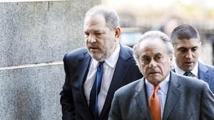 Harvey Weinstein with his lawyer Benjamin Brafman arriving at court in Manhattan