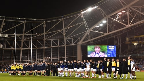 A minute's silence was held in memory of Nicolas Chauvin before the Heineken Champions Cup match between Leinster and Bath at the Aviva Stadium