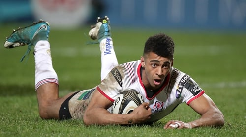 Robert Baloucoune scores Ulster's second try