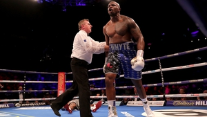 Dillian Whyte reacts to knocking out Dereck Chisora