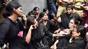 Women from the 'Manithi' NGO arrive to start their trek to Sabarimala Ayyappa temple