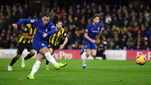 Eden scores from the penalty spot