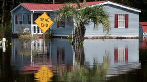 A house surrounded by floodwaters caused by Hurricane Florence near Todd Swamp, South Carolina