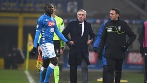 Koulibaly leaves the pitch after being sent off