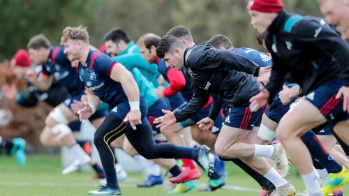 Munster go through their paces at training on Thursday