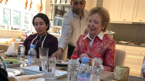 Authorities in the UAE released pictures of the meeting between Sheikha Latifa and Mary Robinson (United Arab Emirates Foreign Ministry)