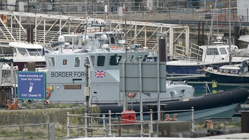 A UK Border Force patrol boat sits in Dover Marina in England
