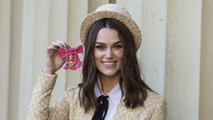 Keira Knightley pictured after receiving her OBE
