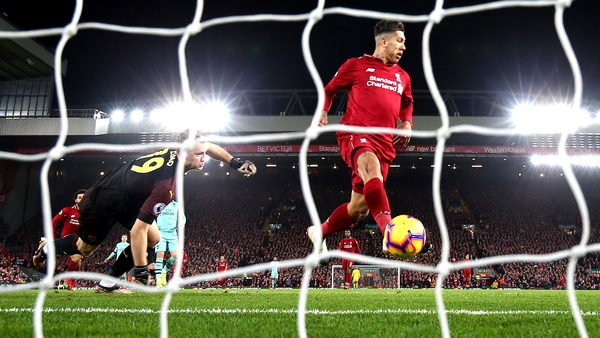 Roberto Firmino opens the scoring for Liverpool