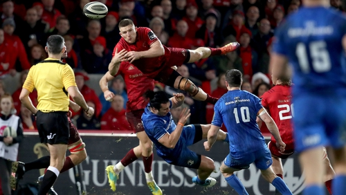 James Lowe was sent-off for challenging Andrew Conway in the air in the defeat to Munster at Thomond Park