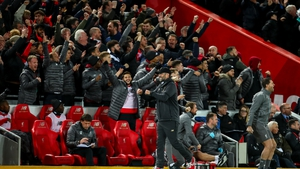 Manager Jurgen Klopp celebrates one of Liverpool's five goals against Arsenal at Anfield