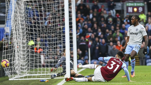 Dwight McNeil scores at the near post for Burnley