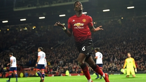 Paul Pogba celebrates his second goal against Bournemouth at Old Trafford