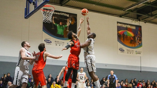 Royce Williams of Pyrobel Killester reaching high for the ball on Saturday