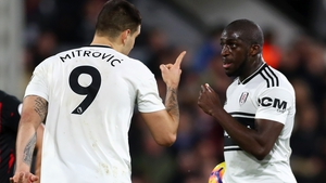 Mitrovic (L) and Kamara argued over who would take the penalty