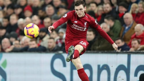 Robertson on he ball for Liverpool