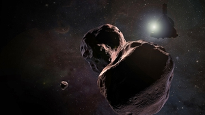An artist's impression of NASA's New Horizons spacecraft encountering Ultima Thule, (1.6bn/km) beyond Pluto