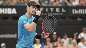"Andy Murray admitted he may have been ""a little bit nervous"" at the start of the match"