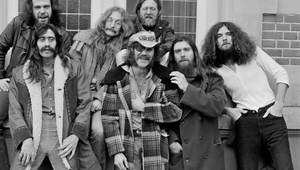 Dr. Hook & the Medicine Show pictured in 1974. L-R: John Wolters, Billy Francis, Rik Elswitt, Ray Sawyer (with eyepatch), Jance Garfat, Dennis Locorriere and George Cummings.