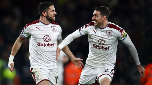 Robbie Brady, left, has made eight Premier League appearances for the Clarets this term, while Stephen Ward hasn't appeared in the league since August