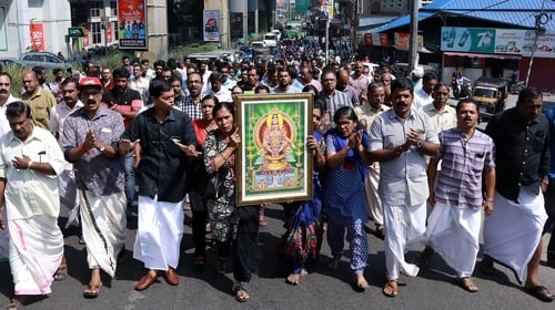 Protesters on the streets after two women entered the temple early this morning