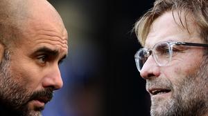 Pep Guardiola (L) and Jurgen Klopp's sides clash tomorrow