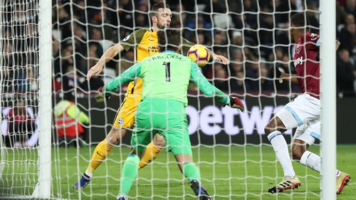 Shane Duffy controls the ball before finding the net