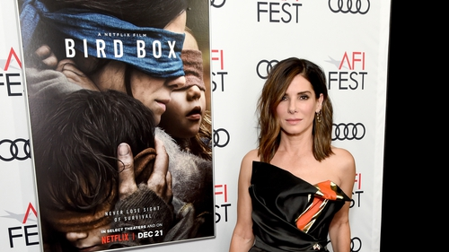 The movie stars Sandra Bullock trying to lead her children to safety while unable to see