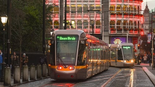 Trams on the Luas service have not been affected