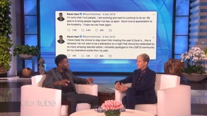 "Ellen DeGeneres tells a contrite Kevin Hart - ""You have grown. You have apologised. You're apologising again right now. You've done it. Don't let those people win. Host the Oscars"" Screeshots: The Ellen DeGeneres Show"