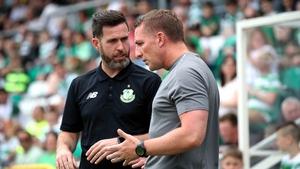 Stephen Bradley and Brendan Rodgers in conversation in Tallaght Stadium last July