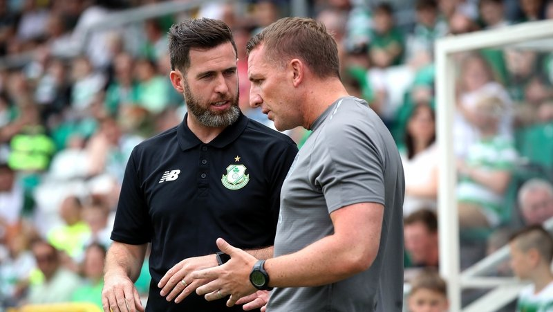 Stephen Bradley and Brendan Rodgers in conversation in Tallaght Stadium last July