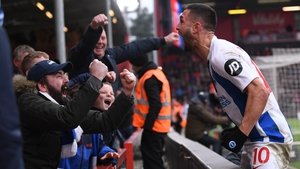 Florin Andone celebrates with Brighton fans