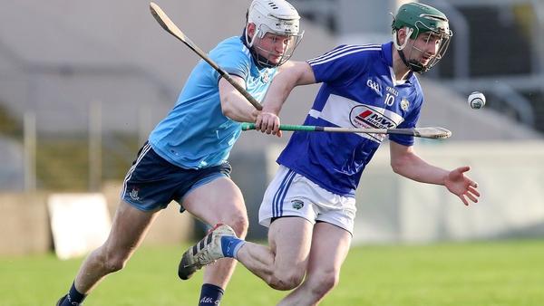 Dublin's Shane Barrett and Aaron Dunphy of Laois