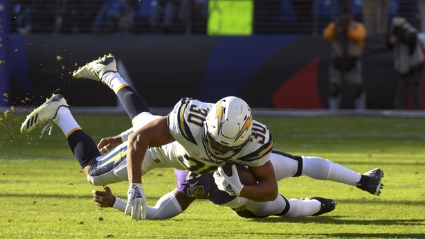 Los Angeles Chargers running back Austin Ekeler makes a first-half pass reception