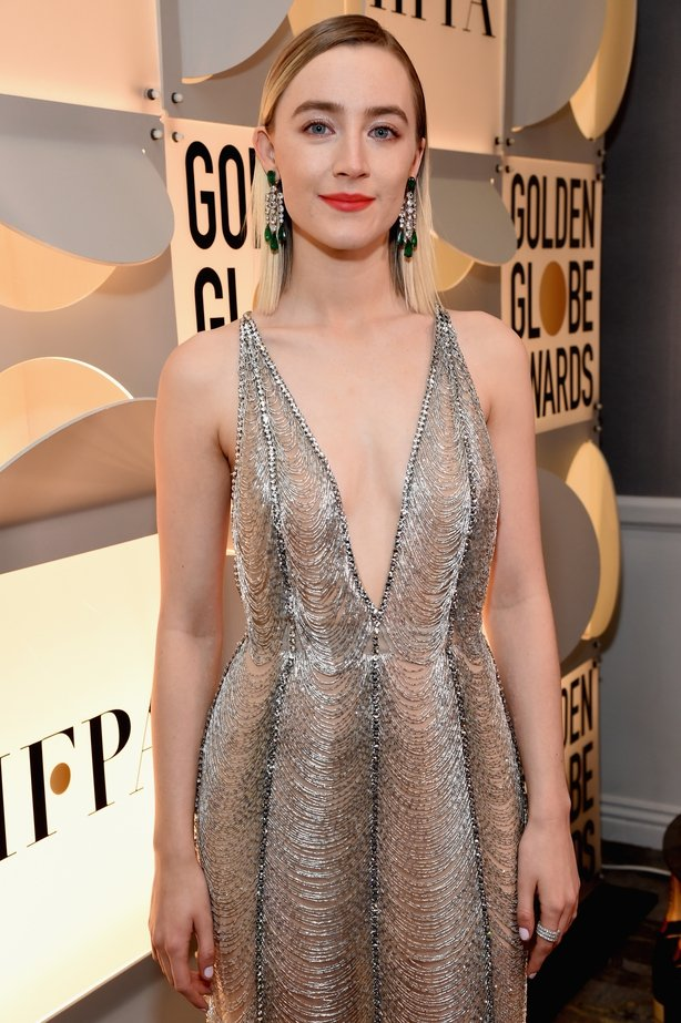 Saoirse Ronan attends Moet & Chandon at The 76th Annual Golden Globe Awards at The Beverly Hilton Hotel on January 6, 2019 in Beverly Hills, California. (Photo by Michael Kovac/Getty Images for Moet & Chandon)