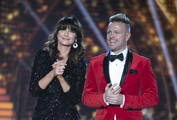 Presenter Jennifer Zamparelli  and Nicky Byrne